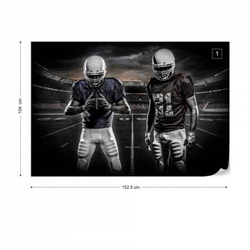 American Football Players Stadium Black And White Photo Wallpaper Wall Mural