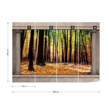 Autumn Forest Roman Column View Photo Wallpaper Wall Mural
