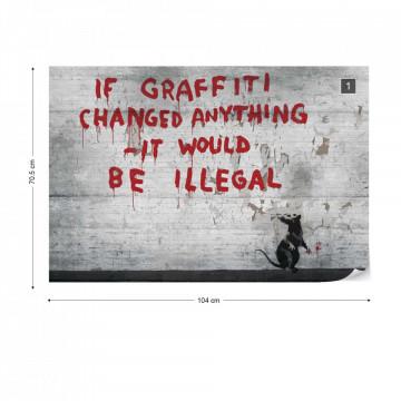 Banksy Graffiti Concrete Photo Wallpaper Wall Mural