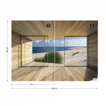 Beach 3D Modern Window View Photo Wallpaper Wall Mural