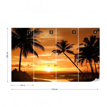 Beach Tropical Sunset Palms Photo Wallpaper Wall Mural