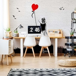 Black And White Brick Wall Graffiti Girl And Heart Balloon Photo Wallpaper Wall Mural
