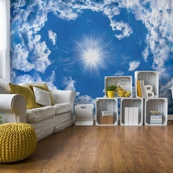 Blue Sky White Clouds Photo Wallpaper Wall Mural