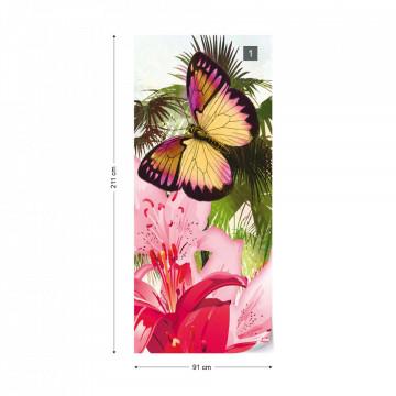 Butterflies Palms Flowers Modern Tropical Photo Wallpaper Wall Mural