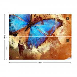 Butterfly Abstract Painting Blue Orange Photo Wallpaper Wall Mural
