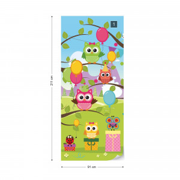 Cartoon Owl Party Photo Wallpaper Wall Mural