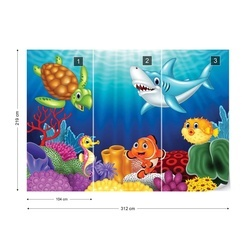 Cartoon Sea Creatures Photo Wallpaper Wall Mural