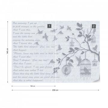 Cherry Blossom And Birds Vintage Design Light Blue Photo Wallpaper Wall Mural