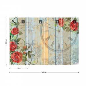 Clock And Roses Vintage Painted Wood And Floral Design Photo Wallpaper Wall Mural