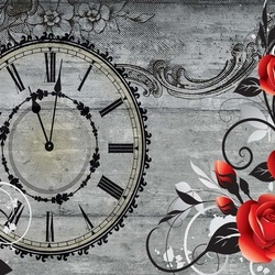 Clock And Roses Vintage Wood And Floral Design Photo Wallpaper Wall Mural