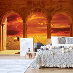 Countryside Field View Through Stone Arches Photo Wallpaper Wall Mural