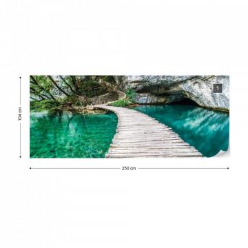 Crystal Lake Wood Walkway Photo Wallpaper Wall Mural