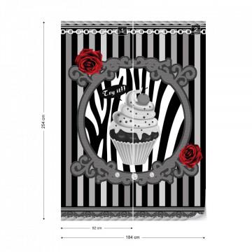 Cupcake Stripes Grey Photo Wallpaper Wall Mural
