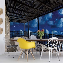 Dreamy Night Sky Terrace View Photo Wallpaper Wall Mural