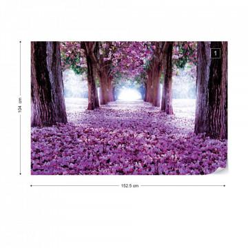 Flowers Trees Path Purple Photo Wallpaper Wall Mural