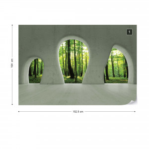 Forest 3D Concrete Arches View Photo Wallpaper Wall Mural
