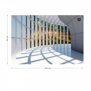 Forest 3D Modern Architecture View Photo Wallpaper Wall Mural