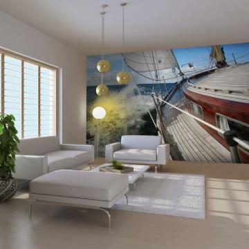Fototapet - A boat in the sea