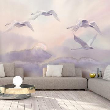 Fototapet autoadeziv - Flying Swans