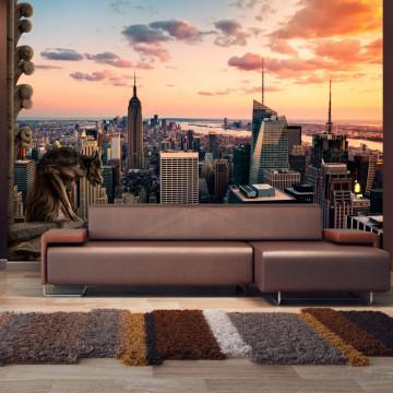 Fototapet autoadeziv - New York: The skyscrapers and sunset