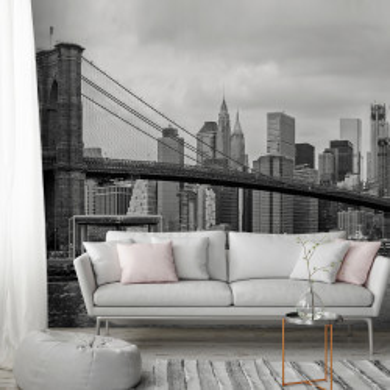 Fototapet autoadeziv - Road to Manhattan (Black and White)