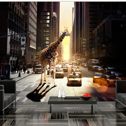 Fototapet - Giraffe in the big city