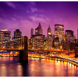 Fototapet - Manhattan and Brooklyn Bridge by night
