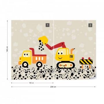 Fototapet - Muncind cu Lorry & Digger