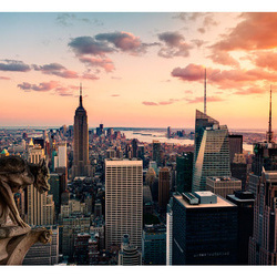 Fototapet - New York: The skyscrapers and sunset