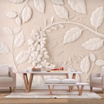 Fototapet - Paper Flowers (Beige)