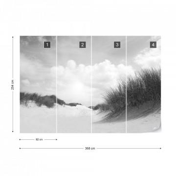 Fototapet - Plajă cu nisip fin – Alb-Negru