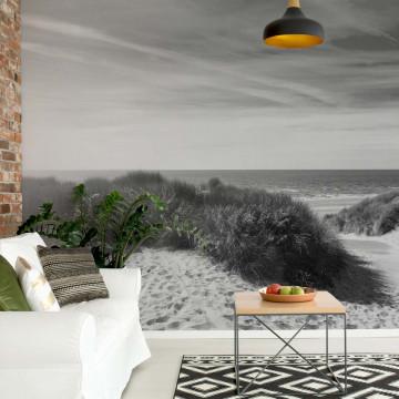 Fototapet - Plajă Sălbatică – Alb-Negru