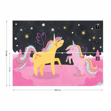 Fototapet - Unicornii Ula și Lola Sub Cerul Înstelat