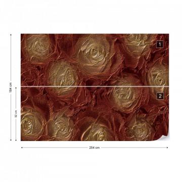 Golden Roses Abstract Texture Photo Wallpaper Wall Mural