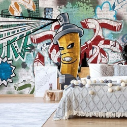 Graffiti Street Art Yellow Photo Wallpaper Wall Mural