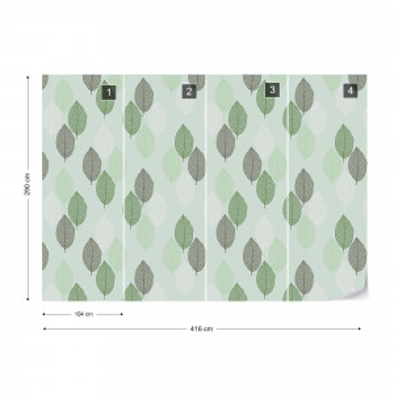 Green Leaves Pattern Photo Wallpaper Wall Mural