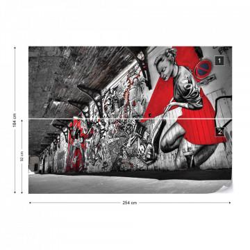 Grunge Graffiti Black White Red Photo Wallpaper Wall Mural