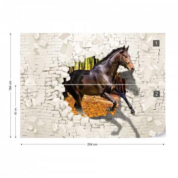 Horse Jumping Through Brick Wall 3D Illusion Photo Wallpaper Wall Mural