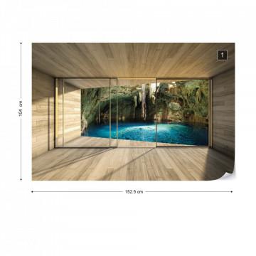 Lake 3D Modern Window View Photo Wallpaper Wall Mural