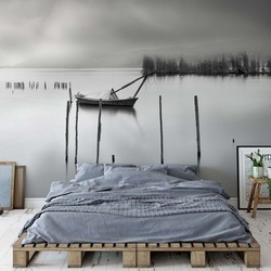 Lake View With Poles And Boat Photo Wallpaper Mural
