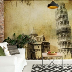 Leaning Tower Of Pisa Sepia Photo Wallpaper Wall Mural