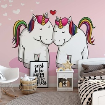 Love Unicorns Pink Photo Wallpaper Wall Mural