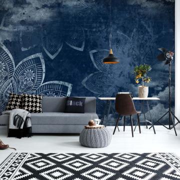 Mandala Clouds Night Sky Blue Photo Wallpaper Wall Mural