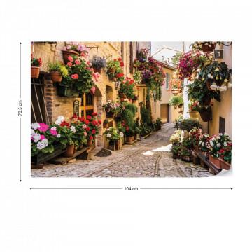 Mediteranean Street With Flowers Photo Wallpaper Wall Mural