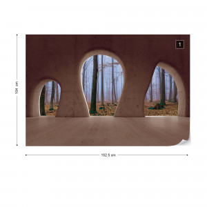 Misty Forest 3D Concrete Arches View Photo Wallpaper Wall Mural