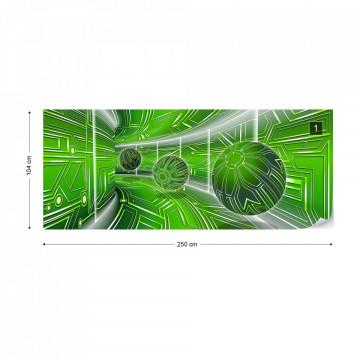 Modern 3D Tech Tunnel Green Photo Wallpaper Wall Mural