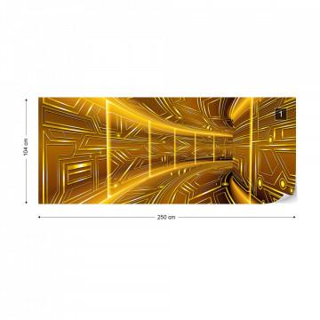 Modern 3D Tech Tunnel Yellow Photo Wallpaper Wall Mural