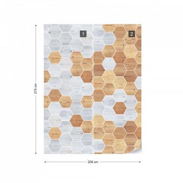 Modern 3D Wood Hexagonal Design Photo Wallpaper Wall Mural