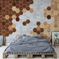 Modern 3D Wood Hexagonal Design Photo Wallpaper Wall Mural