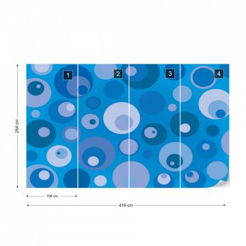 Modern Blue Cirlces Pattern Photo Wallpaper Wall Mural
